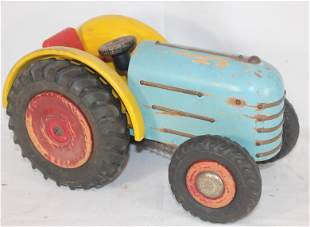 """Wooden painted tractor w rubber wheels - 13"""" long x 6"""