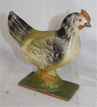 Vintage painted composition or papier mache chicken - 6