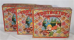 3 orig boxed Tootsietoy Furniture sets