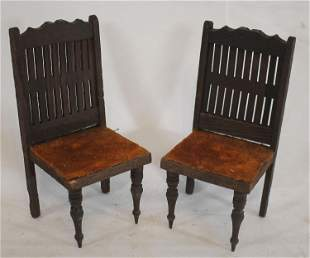 """2 vintage matching wooden dollhouse sidechairs - 6"""""""