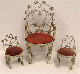 """Set of 3 vintage bent wire dollhouse chairs - 7"""" & 3"""