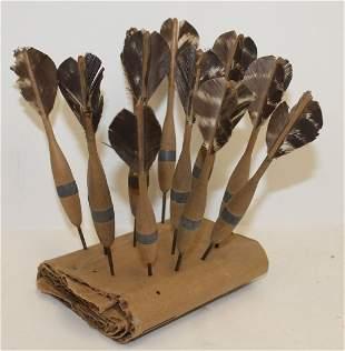 "Vintage set of wooden darts w feather flights - 6"""