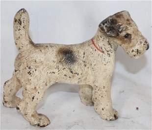 "Cast iron painted Terrier dog doorstop - 5 1/2"" tall x"