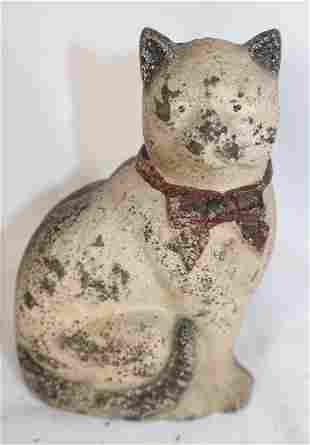 """Cast iron painted cat w bow still bank - 4 1/2"""" tall"""
