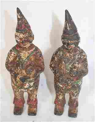 "2 Cast iron clown still banks - as found paint - 6"""