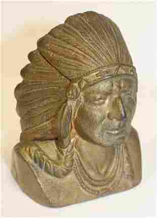 Gilt cast iron Native American chief head still bank -