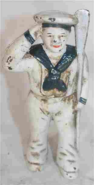 "Cast iron painted Saluting Sailor still bank - 5 1/2"""
