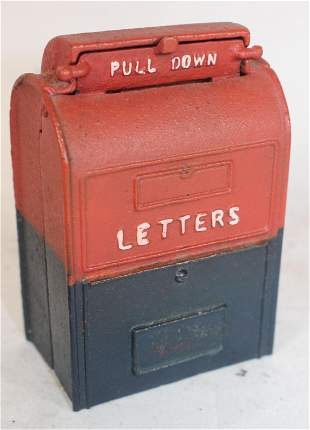 """Cast iron red & blue painted mailbox still bank - 4"""""""