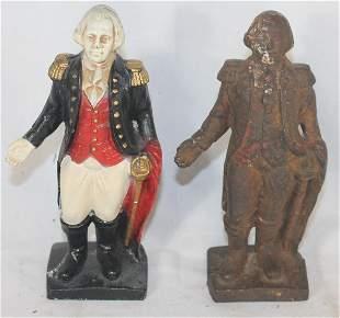2 George Washington painted still banks - 1 cast iron,