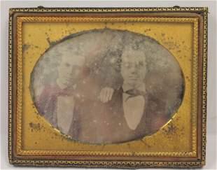 """Antique dagguerotype of two men - 3 3/4""""x4 3/4"""""""