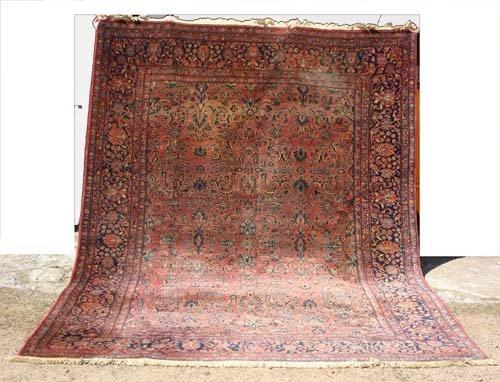"""1: antique 8'6""""x11'2"""" Sarouk Oriental Rug"""