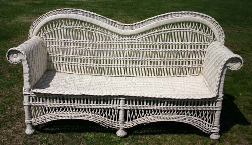 1C: Fine form 6' long Bar Harbor style wicker sofa