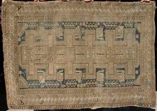 "3: 4'2""x6' antique Shirvan Oriental Rug"