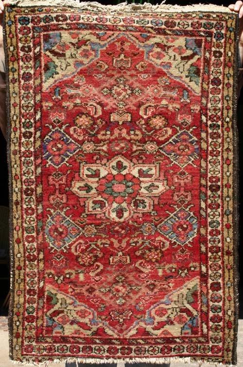 """8: 2'4""""x3'8"""" semi antique Persian Hamadan Oriental mat"""