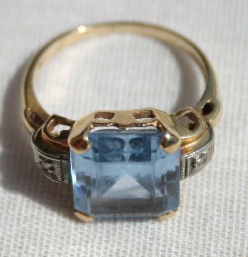 10A: 14k gold Victorian lg aquamarine ring - 2.5dwt