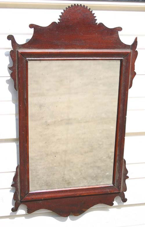 12: wonderful NH QA ca 1760 mahog mirror w rare sawtoot