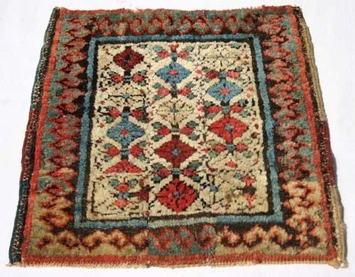 """13: approx 13"""" square antique Caucasian Oriental mat"""