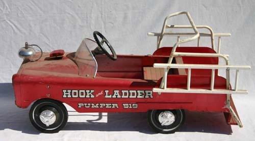 """335: """"Hook & Ladder Pumper 519"""" pedal car w ladders & b"""