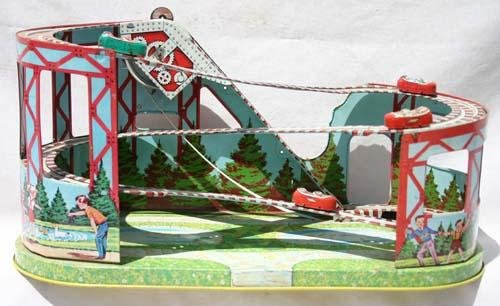 344: Chein tin wind up Roller Coaster w cars