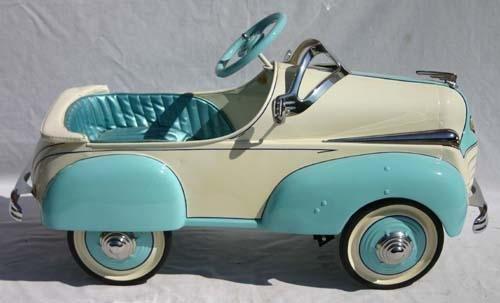 345: Chrysler blue & white pedal car in fabulous restor