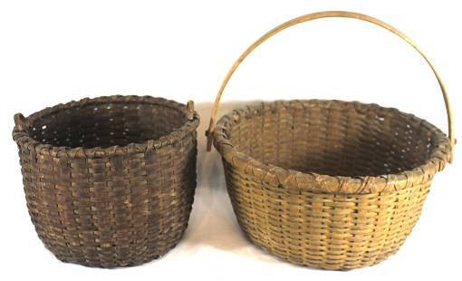 2 gathering baskets - as found - 1 w swing handle w