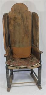 Make-do wooden fireside chair w shoe feet & 2 pillows