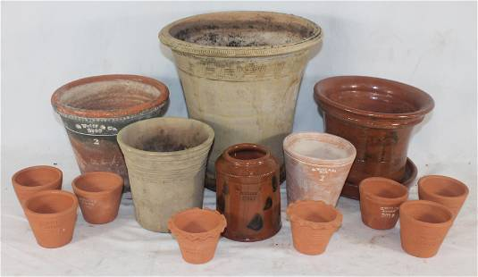 Large lot of Guy Wolff terra cotta planters/pots in