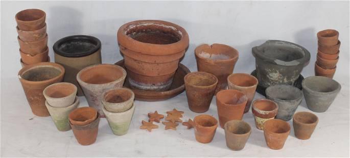 "large lot of terra cotta garden pots - tallest is 6"""