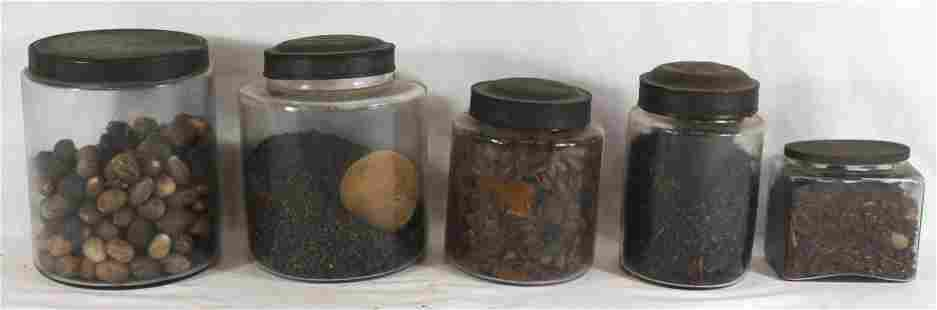 lot of 5 glass storage containers w tin tops & contents
