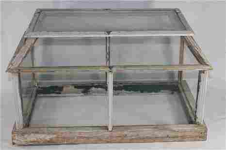 Glass & wood trimmed terrarium - as is - missing one
