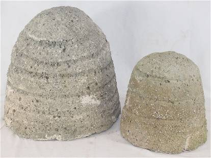 """2 cement bee skeps - 15"""" tall x 13"""" diam & 10"""" tall x 9"""