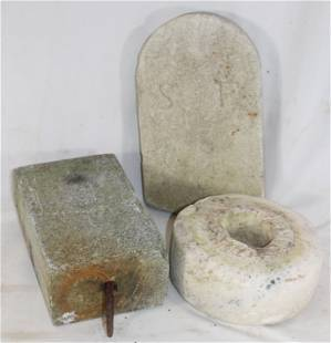 Garden lot incl granite horse tether, marble grinding