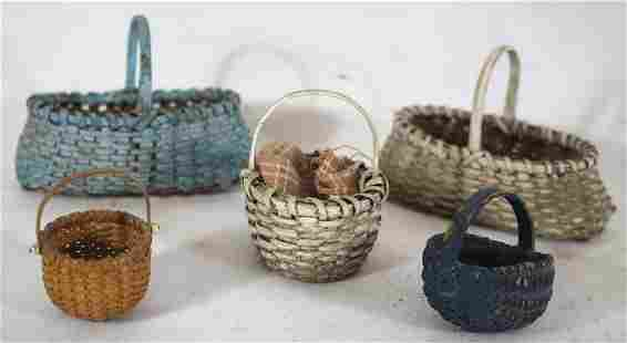 "lot of 5 miniature baskets incl 1"" swing handled"