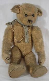 Antique stuffed & jointed mohair teddy bear - as found