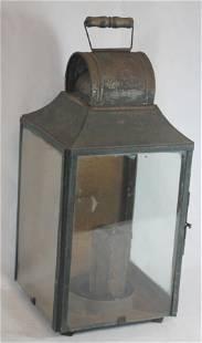 "Antique tin lantern - 20"" tall x 10"" wide"
