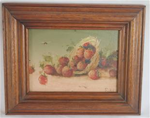 Small oil on tin of berries spilling out of a basket -