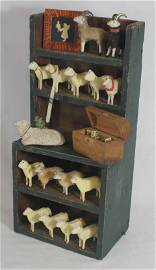 Miniature hanging stepback cupboard w contents as