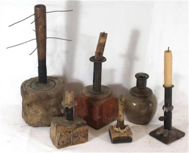 lot of 5 Make-do candle sticks plus a burl based candle