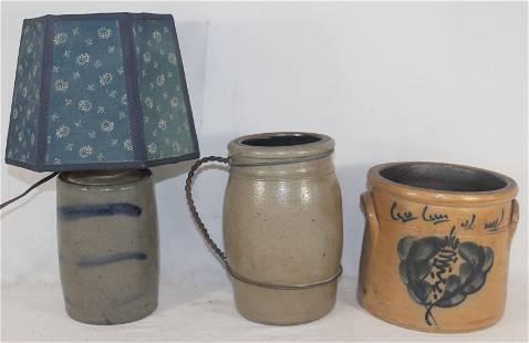 "Stoneware lot incl make-do lamp from a 7"" cobalt dec"
