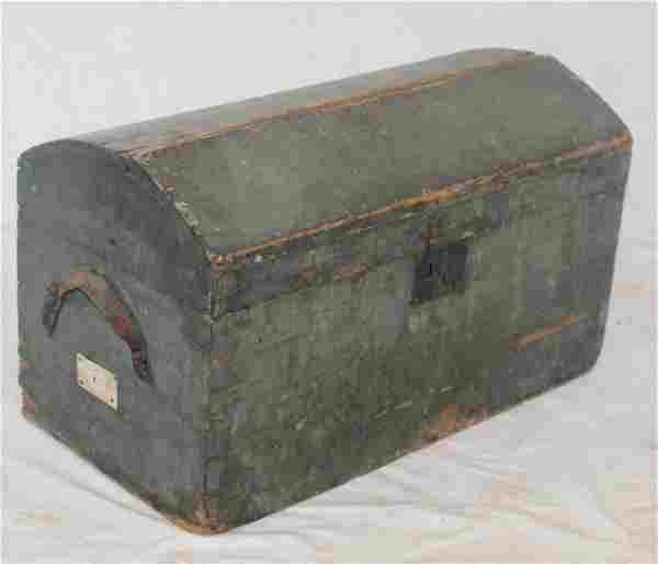 Wooden painted dome top trunk w leather handles in blue