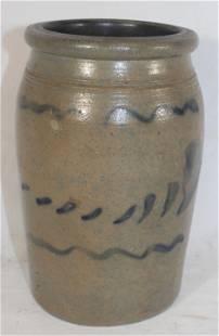 """Stoneware jar w cobalt slip dec - 8 1/2"""" tall"""