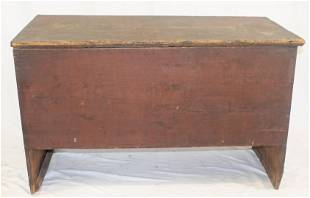 Antiquw ooden painted lift top blanket box in red paint