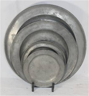 """lot of 4 pewter plates/chargers - 16 1/2"""", 13"""", 9"""" & 8"""""""