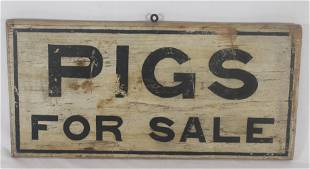 """Wooden painted sign """"Pigs For Sale"""" - 10 1/2""""x22"""""""