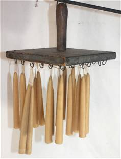 """Primtive wooden candle dipper w beeswax candles - 9""""x9"""