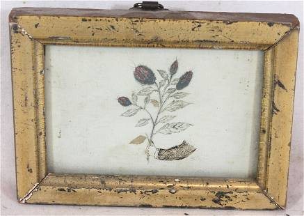 Framed diminutive school girl art - mixed media of an