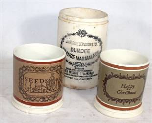 2 transferware motto cups by Don Carpentier together w
