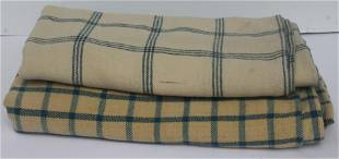 2 blue & natural antique wool blankets