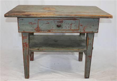 Primitive work table w 1 dr & lower shelf in blue/gray
