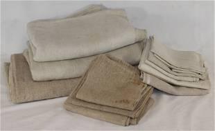 Antique textile lot incl lg heavy homespun, lg nubby